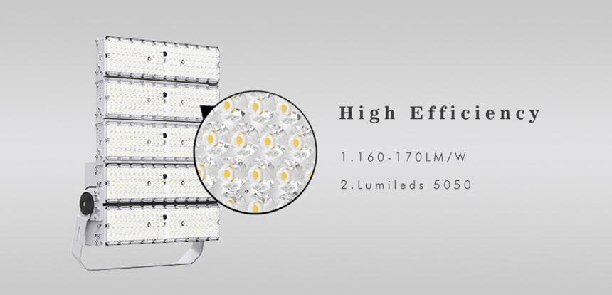 high efficiency 1500w led high pole flood light