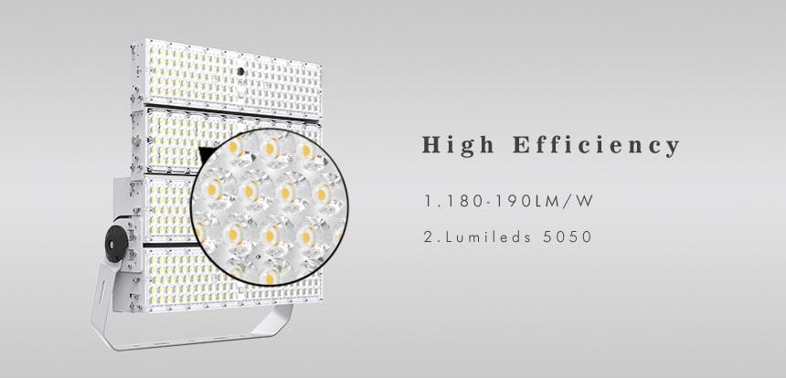 800W high efficiency 180-190lm/w LED High Pole Flood area lights