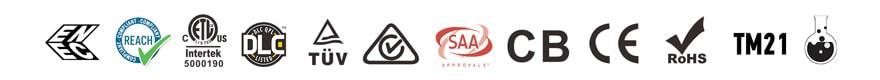 ENEC REACH ETL DLC TUV CE CB SAA RoHS LM79 LM80 TM21 Salt Spray test approved certification icon