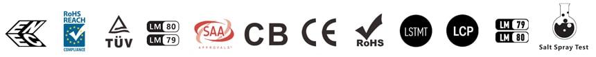ENEC, REACH, TUV, CE, SAA, CB, LM79, LM80, LSTMT, LCP, Salt Spray test certification icon