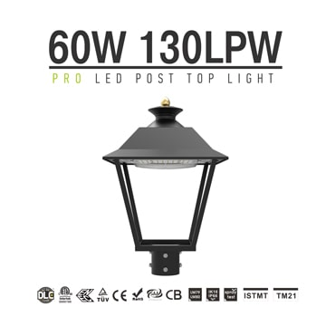 DLC LED Post Top Pole Lights, 60W 7800Lm 3000K Outdoor Waterproof Urbanscape Decorative Area Top Light Fixtures