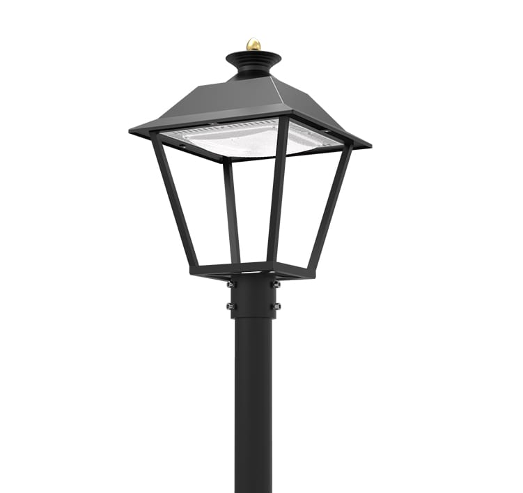 20W 2800lm LED 120 Degree Post top Luminaire - 4m Pole Outdoor Light is equivalent to 60W MH lamp