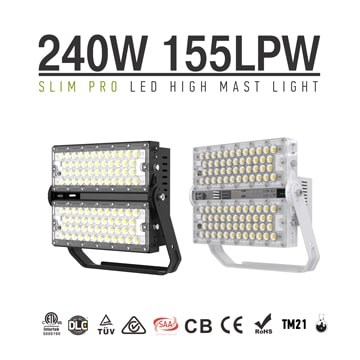 240W Slim Pro LED High Mast  Lights - 37,200 Lumens Racing track, Ballpark Lighting