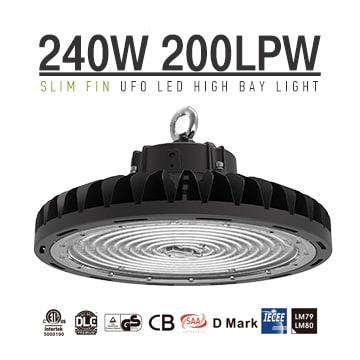 240W Black 5700K 90, 120 degree lens Dimmable Slim Fins UFO LED High Bay Lighting wholesale