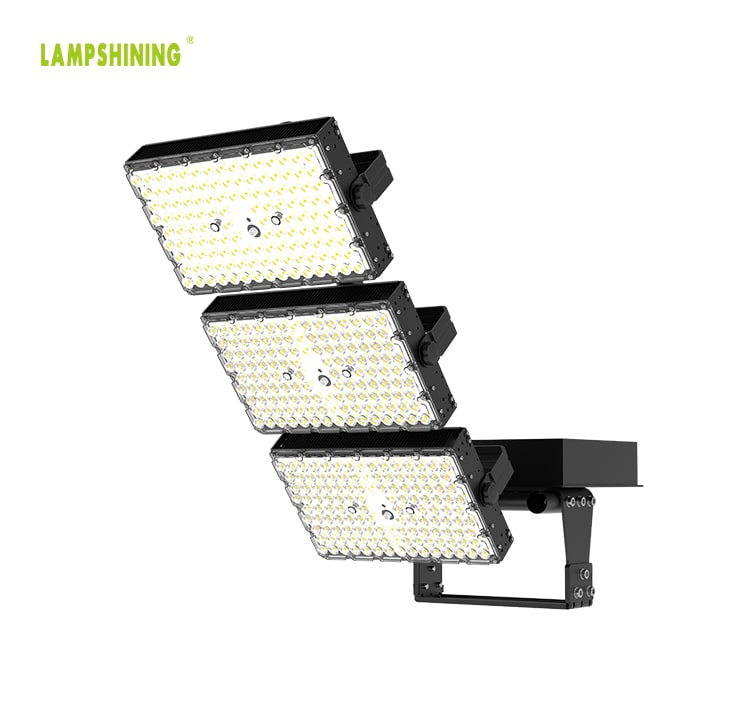 Black Stadium and Arena LED Flood Light 900W - 170Lm/W Pure aluminum Body 3 Module Rotatable Sport Light