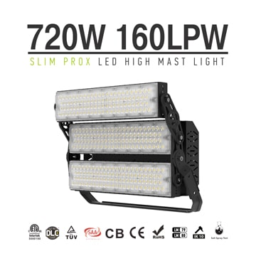 Slim ProX 720W Outdoor High Uniform LED Lighting, Aluminum Waterproof and Lightning-proof Lightweight Pole Light