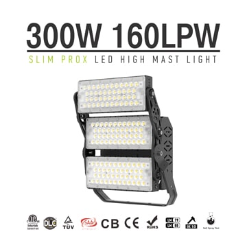 Slim ProX 300W 48000lm LED Flood Sports Light - Tennis court, volleyball, basketball pitch Lighting fixture