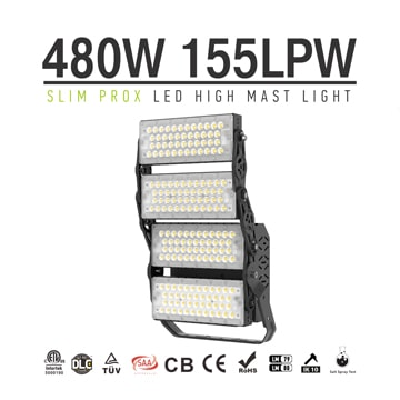 480W Slim ProX LED High Mast Area Light - 74400lm 4 module Rotatable High uniformity Waterproof Lighting Fixture
