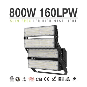 800W 128000lm Slim ProX LED Sports Light Fixture - Football, Golf Course, Seaport Lighting