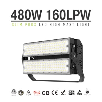 Slim ProX LED Sports Light, 480W 76800lm 100-277V Daylight DLC TUV Module Flood Lighting Wholesale