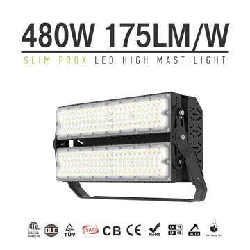 Slim ProX LED Sports Light, 480W 76800lm 100-277V Daylight DLC TUV Module Flood Lighting Wholesale
