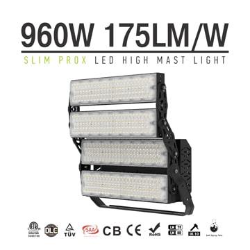 960W Slim ProX LED Sports Light Fixture - Yoke Mount Football, Squash, pickleball, Stadium Lighting