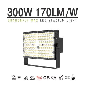 300W LED High Mast Flood Light - 20 40 60 degree Black Square High Efficiency Bracket Pole Flood light