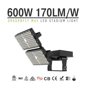 LED Area Flood Light Fixture 600W -  2 Module Black Rotatable 170Lm/W Outdoor Pole Uniform Illumination