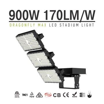 Black Stadium and Arena LED Flood Light 900W - 170Lm/W Pure aluminum Body 3 Module Rotatable Sport Light