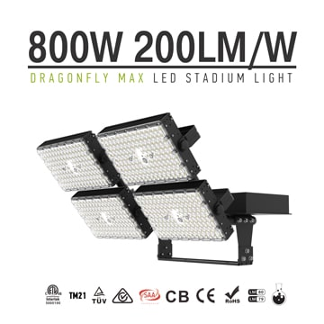 800W LED High Mast Light, 200Lm/W High uniformity Black Aluminum 4 Modules Waterproof Light
