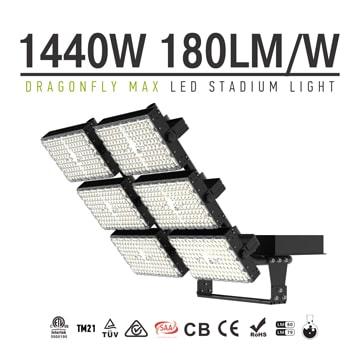 LED Stadium Light 1440W - Adjustable 6 Module Outdoor Waterproof Flood Light - 3000W HID MH Equivalent