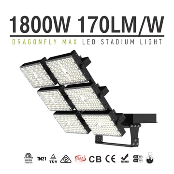 1800W LED Area Flood Light Fixtures - 100-277V 5000K 306,000lm Super Bright Outdoor 6 Modules Work Light