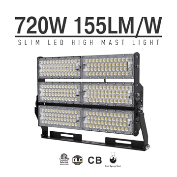 720W-B LED High Mast Light,Rotatable Module,155Lm/W,111,600 Lumen,IP65,Stadium Light,Sports Lighting,Flood Lighting
