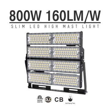 800W LED High Mast Lighting Manufacturers in china, Rotatable Module,160Lm/W,128,000 Lumen,IP65,Stadium Light,Sports Lighting,Flood Lighting
