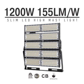 1200W LED High Mast Light,Rotatable Module,155Lm/W,186,000 Lumen,IP65,Stadium Light,Sports Lighting,Flood Lighting