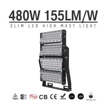 480W-A TUV SAA LED High Mast Light,Rotatable Module,155Lm/W,74400 Lumen,IP65,Stadium Light,Sports Lighting,Flood Lighting