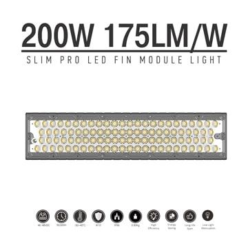 200W LED Fin Module Light, Waterproof Lumileds 5050 175Lm/W Area Light