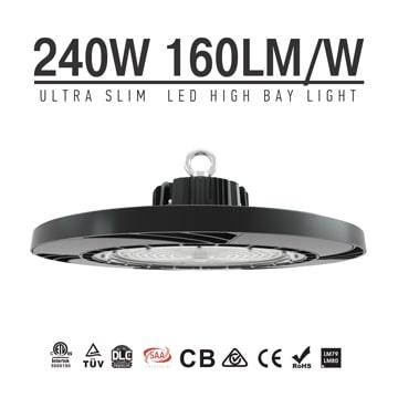 UFO LED High Bay Light 240W 36,000 lm, 5000K Flicker-Free Warehouse Lighting manufacturer