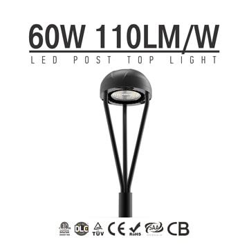 60W DLC IECEE LED Post Top Light Fixture 6,600Lm outdoor Park Pathway Pole Garden landscape Lights
