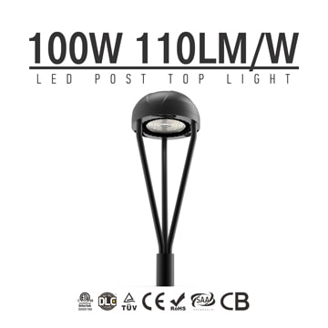 100W LED Post Top Light Fixture 11,000Lm outdoor Park Pathway Pole Garden Lights Photocell
