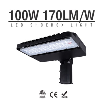 100W LED Shoebox Lights,170LM/W Type III 4000K 5000K Aluminum Area Lighting Fixtures