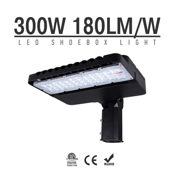 300W LED Shoebox Area Light Fixtures 180Lm/W 54000Lm