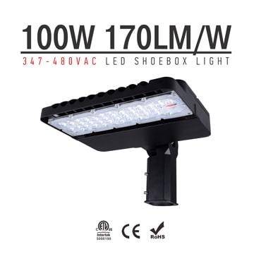 100W 347-480V LED Shoebox Area Light Fixtures 170Lm/W 17000Lm