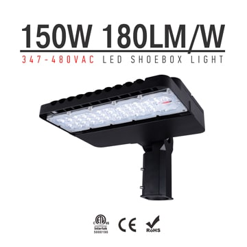 150W 347-480V LED Shoebox Area Light Fixtures 180Lm/W 27000Lm
