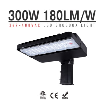 300W 347-480V LED Shoebox Area Light Fixtures 180Lm/W 54000Lm