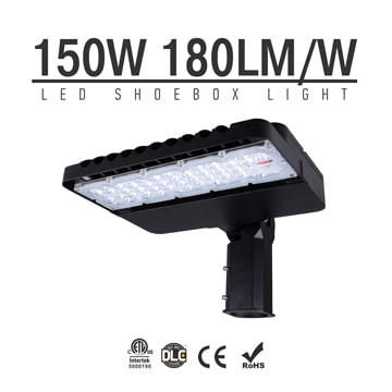 150W LED Shoebox Area Light Fixtures DLC Premium 180Lm/W 27,000Lm