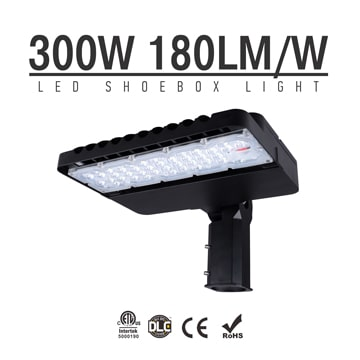 300W LED Shoebox Area Light Fixtures DLC Premium 180Lm/W 54,000Lm