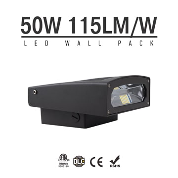 50W Full Cut-off LED Wall Pack Lights,110Lm/W,5,500 Lumens,IP65 waterproof