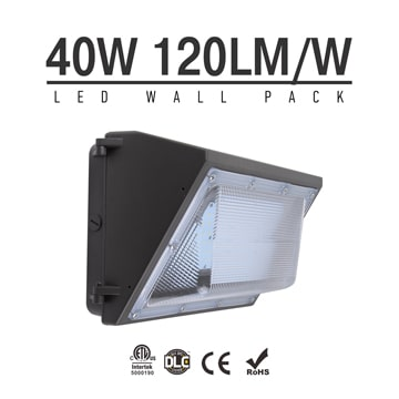 40W Semi Cut-off LED Wall Pack Lights,,4,800 Lumens,IP65 waterproof