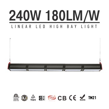 240W LED Linear High Bay Light 43200Lm TUV CE RoHS ETL DLC