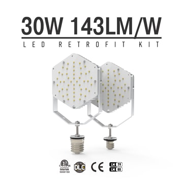30W LED Retrofit Kits for 105W Metal Halide Fixtures Parking Lot Lighting Retrofit