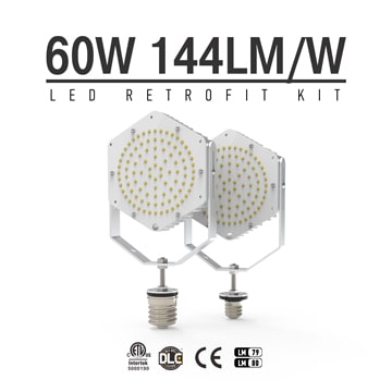 60W Shoebox Parking lot Light LED Retrofit, E40 E39 Base LED Retrofit Kit Light