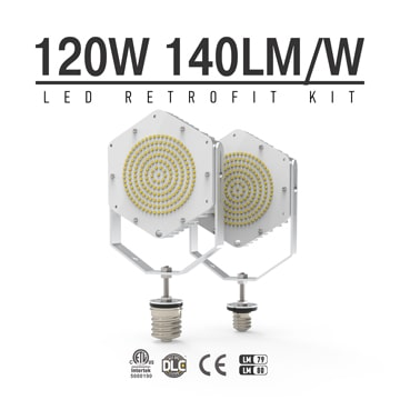 120W LED Retrofit Kits for 400W Metal Halide Fixtures 16,800Lm Parking Lot Lighting Retrofit