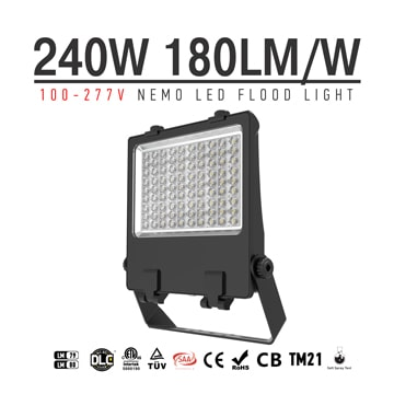 240W Pole Mounted LED Flood Light, 180Lm/w DLC adjustable IP66 LED Pole Flood Light Heads