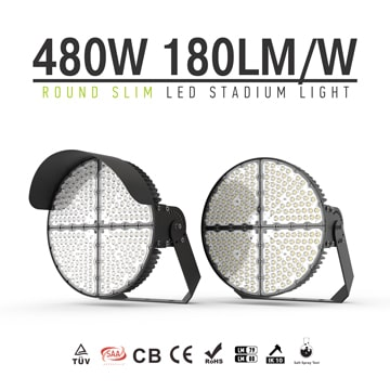 Round Slim Aluminum LED Sports Light 480W - Anti Glare Corrosion-resistant brackets Lighting Fixtures