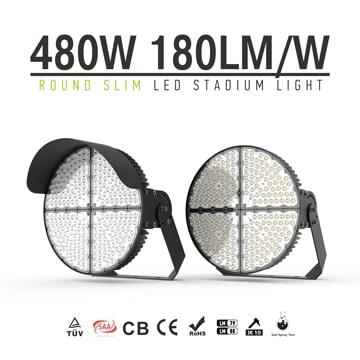 Round Slim Aluminum LED Sports Light 480W - Anti Glare Corrosion-resistant brackets Lighting Fixtures