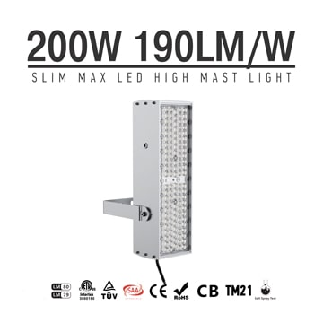 200W 240W 300W LED Flood Lights - 100-277V Brecket Rotatable Grey Aluminum Fin Lightweight 7kg Anti Glare Light