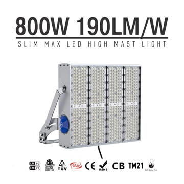 800W 960W 1200W LED Flood Light 4000K 5000K, AC100-277V Waterproof IP66 Construction, Marine, Seaports Light