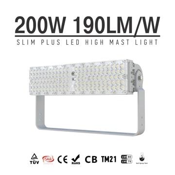 200W 38,000LM LED Flood Light, 1-10V Dimmable Bracket Rotatable Aluminum 7kg Module Area Light
