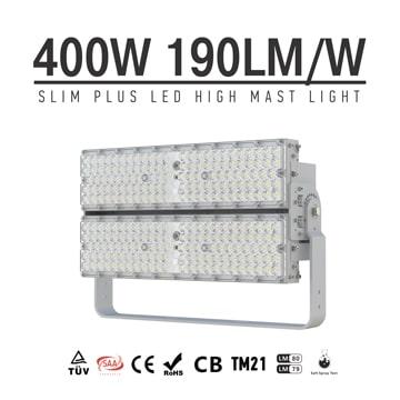 400W 72000Lm 180Lm/W LED Lights, Folding Aluminum Fin High Mast, High Pole, Flood Light